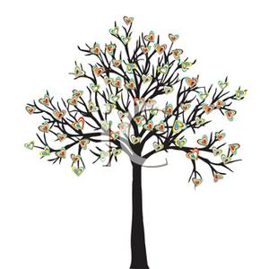 Clipart Image Of Colorful Hearts Growing On A Tree