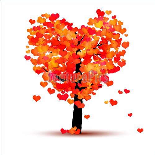 Fall Tree Heart Clip Art