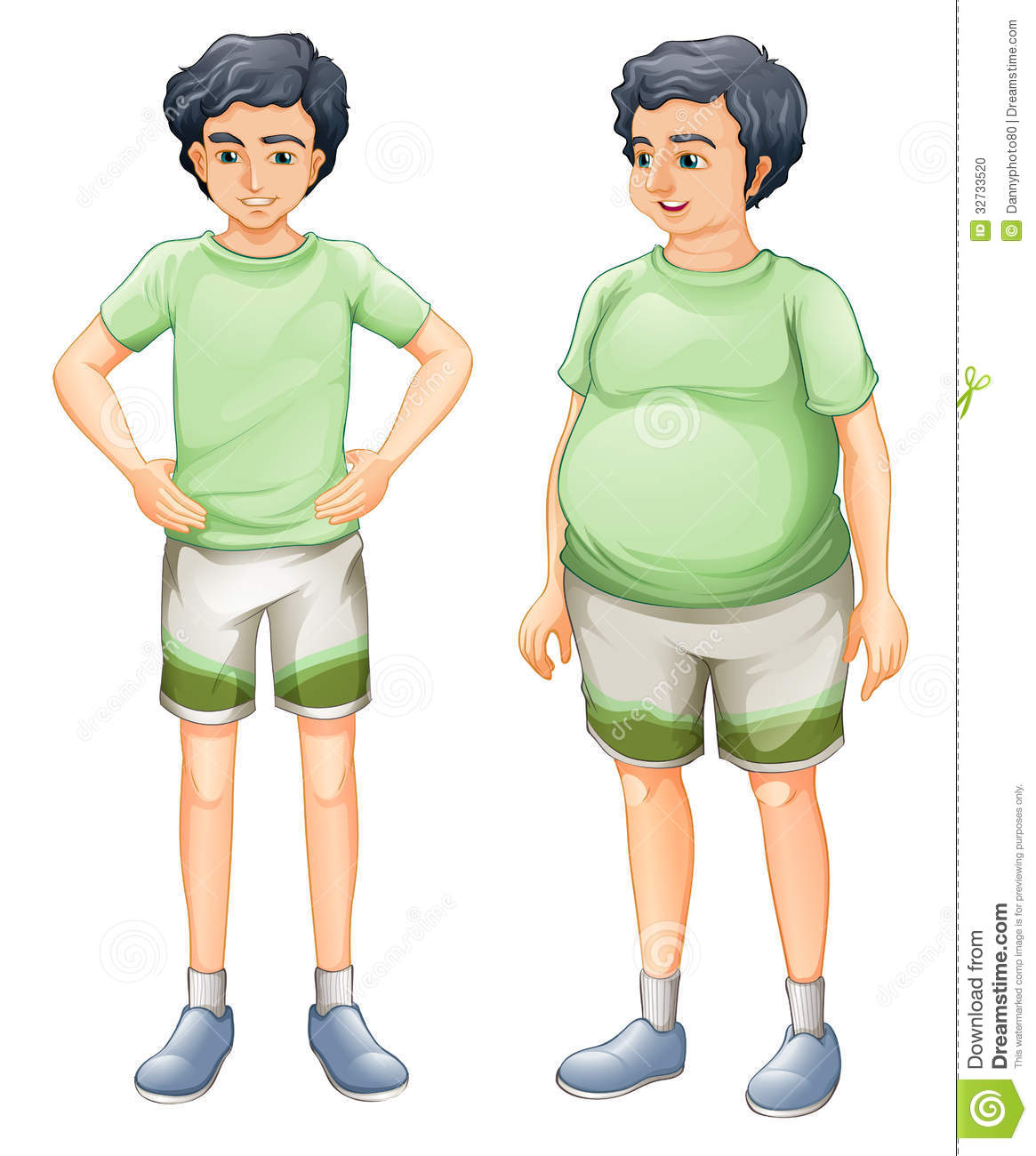 Illustration Of The Two Boys With Same Shirt But Of Different Body