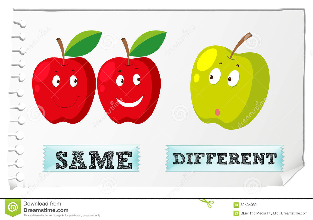 Opposite Adjectives With Same And Different Illustration