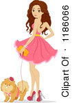 Standing With Her Dog Royalty Free Vector Clipart By Bnp Design Studio