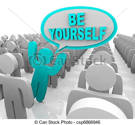 Stock Illustration Of Be Yourself   One Different Person Standing Out