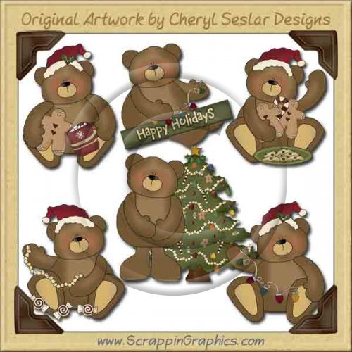 Sweet Christmas Bears Collection Graphics Clip Art Download   Scrappin