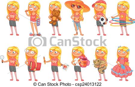Vector   Baby Girl Stands In Same Pose   Stock Illustration Royalty