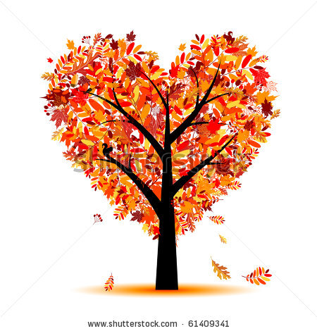 Vector Beautiful Autumn Tree Heart Shape For Your Design 61409341 Jpg