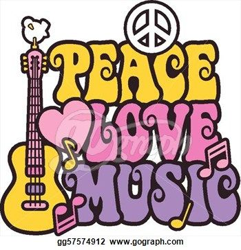 70s Groovy Clip Art   Stock Illustration   Peace Love Music In Bright