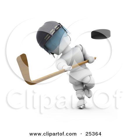 Character Wearing A Helmet Whacking A Flying Puck With A Hockey Stick