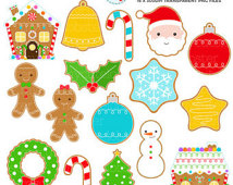 Christmas Cookies Clipart Set   Clip Art Set Of Gingerbread Christmas