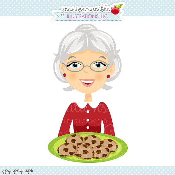 Grandma With Cookie Plate Character Illustration Illustration Of