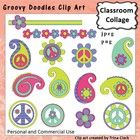 Groovy Doodles Peace Paisely Clip Art   Color   Personal   Comm Use T