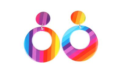 Hippie Psychedelic Hoop Clip On Earrings