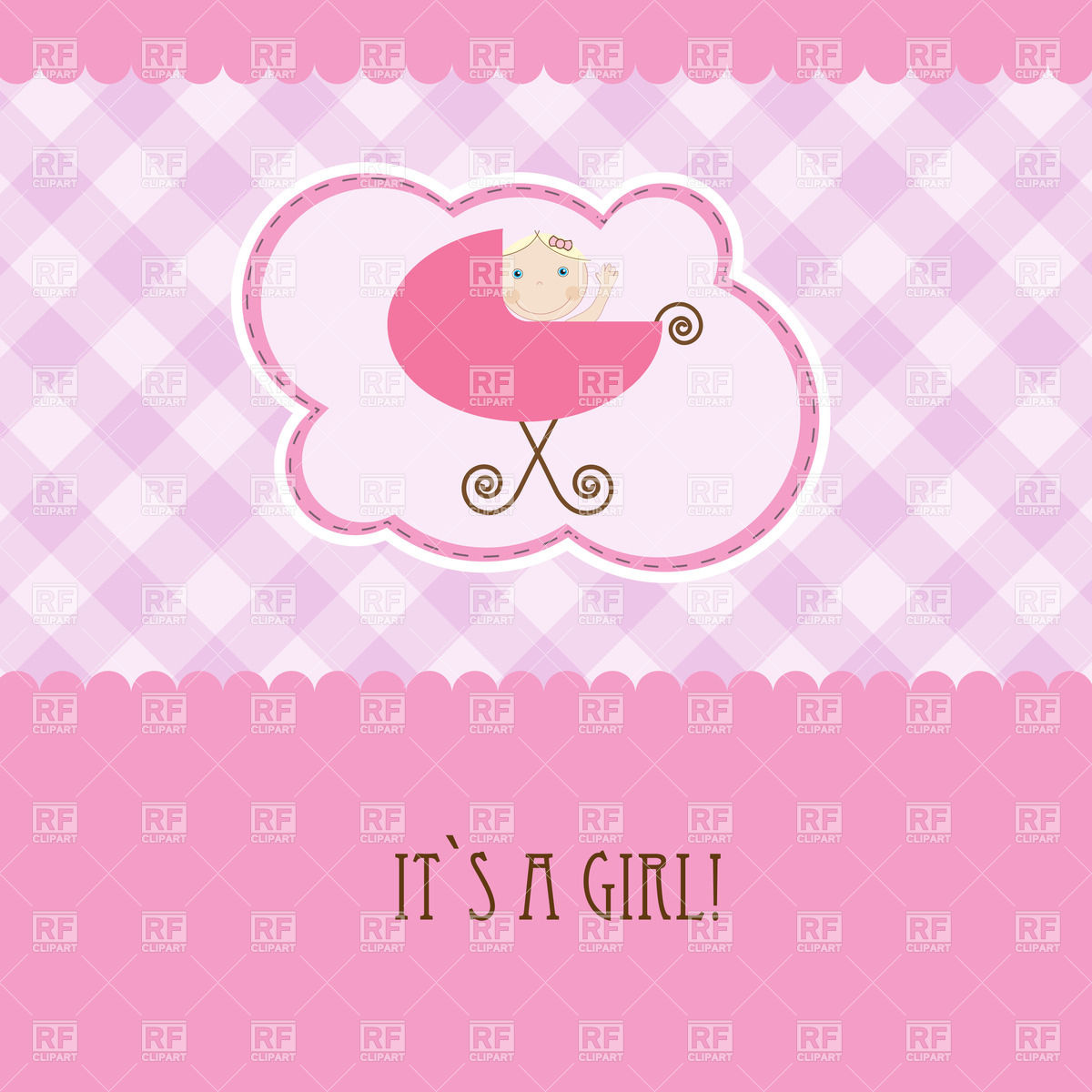Pink Birthday Card With Baby Girl In Perambulator 23648 Borders And
