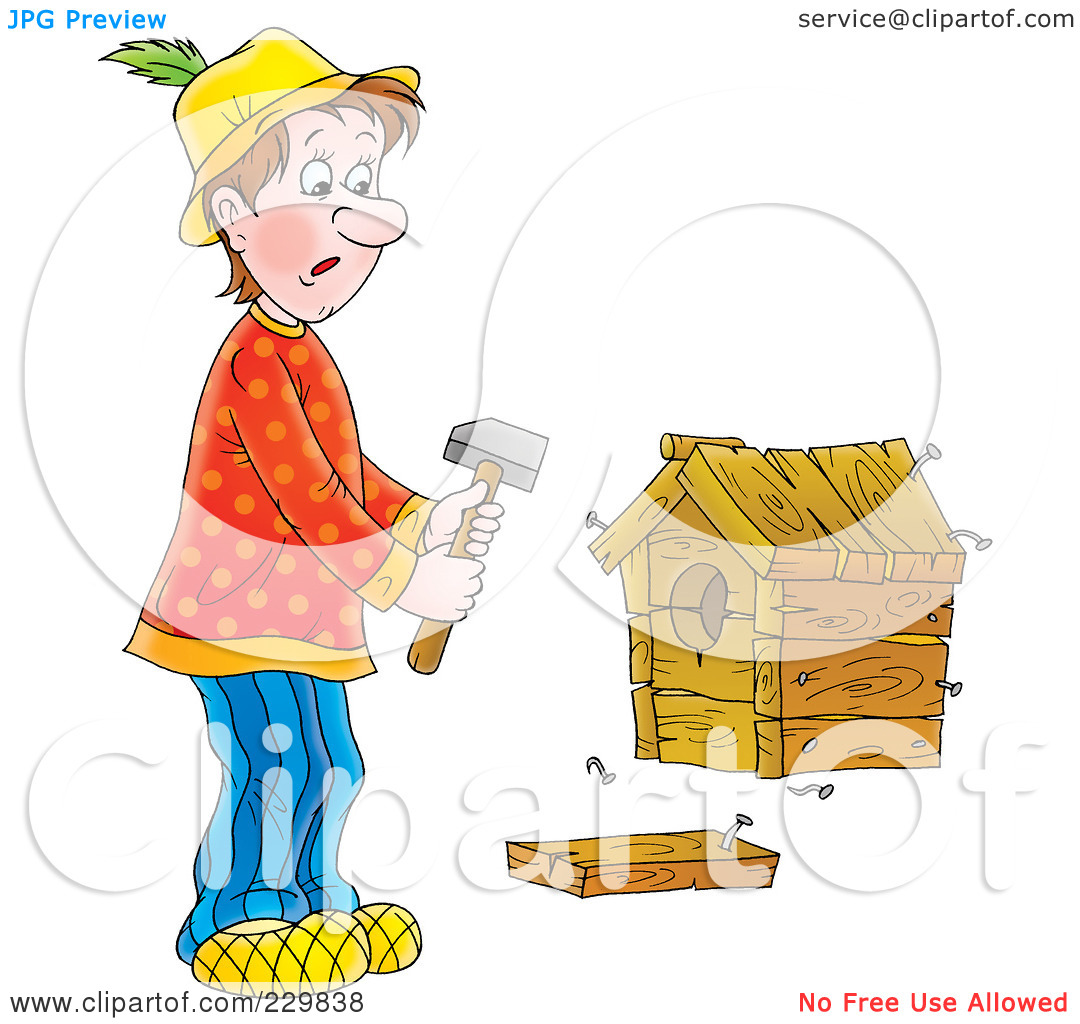 Royalty Free  Rf  Clipart Illustration Of A Man Building A Birdhouse