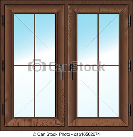 Vector   Wooden Closed Double Window  Vector Illustration    Stock