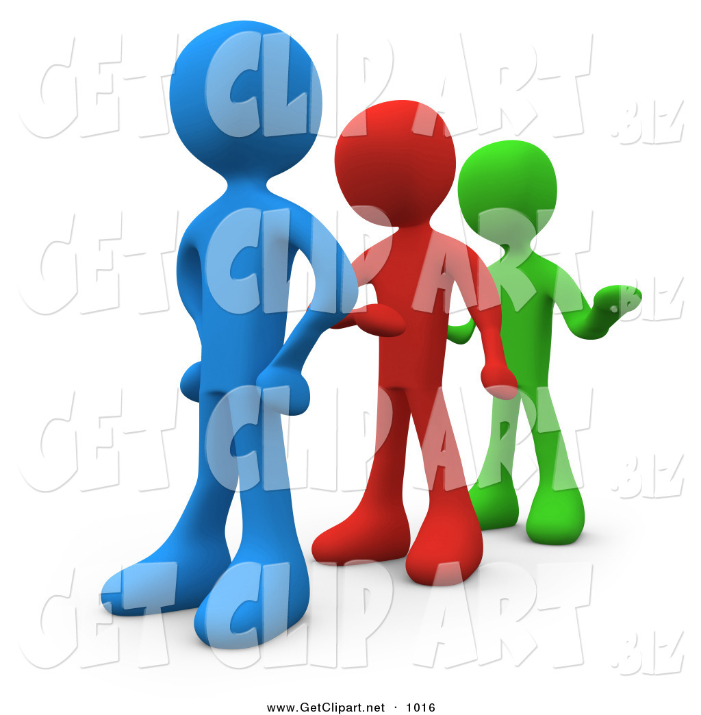 3d Clip Art Of A Line Of Three Different Colored People Getting