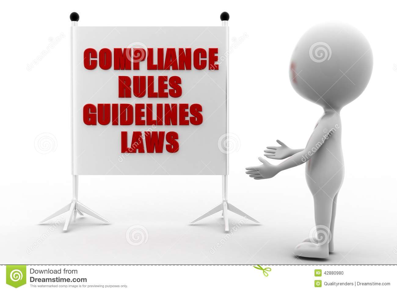 3d Man Compliance Rules Regulations And Guidelines Concept On White
