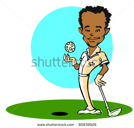 African American Golfer Man Clipart Stock Photo 80939926
