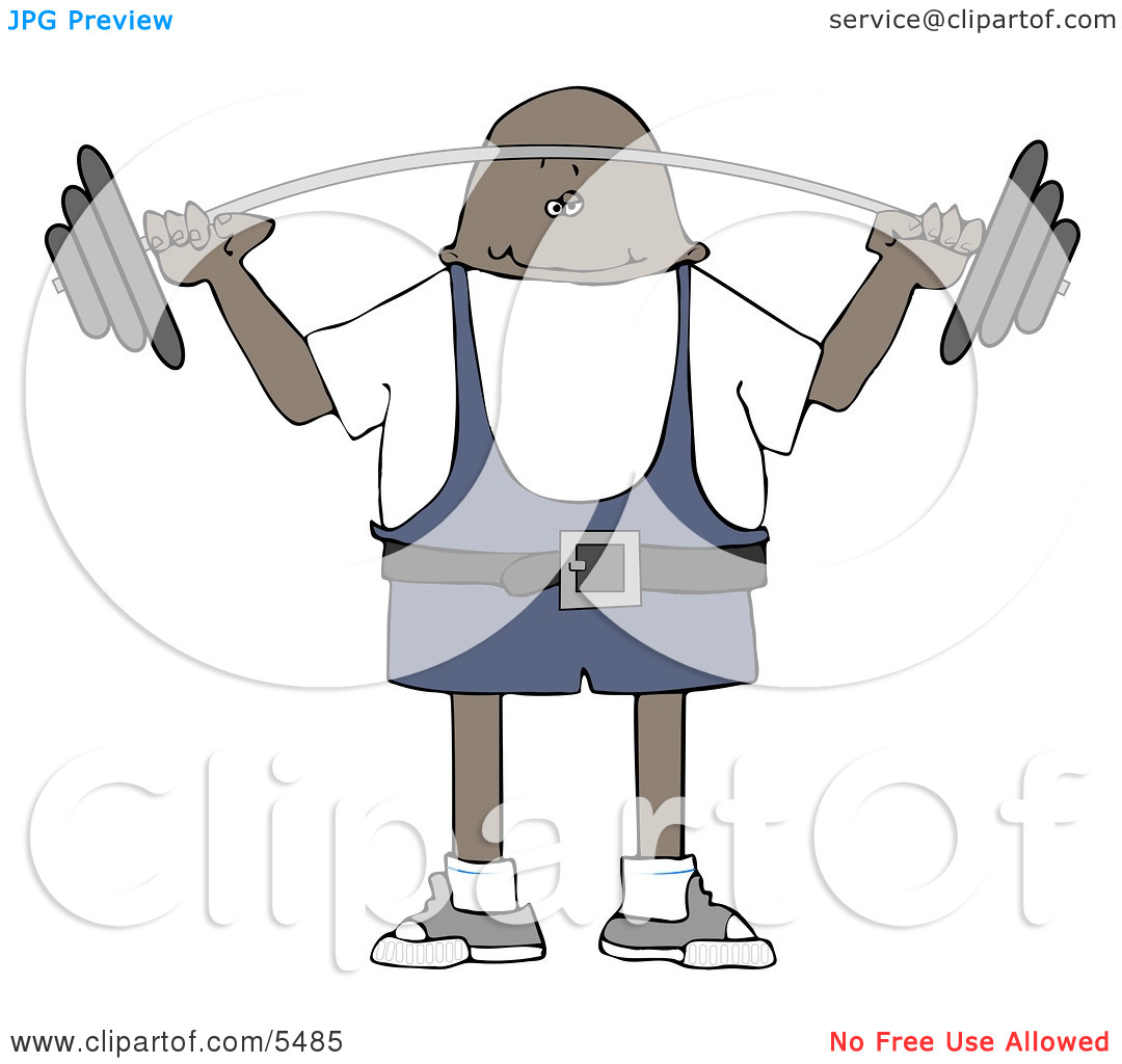 African American Man Lifting Weights Clipart Illustration By Djart