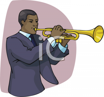 African American Man Playing A Trumpet   Royalty Free Clip Art Picture