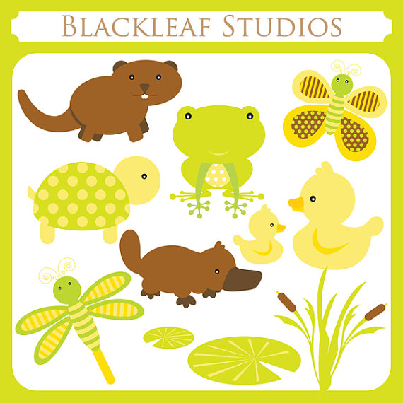 Baby Pond Animals Instant Download Clipart   Beaver Otter Ducks