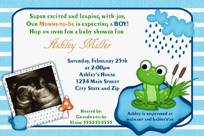 Baby Shower Frog Clip Art Baby Shower Invitations  Frog