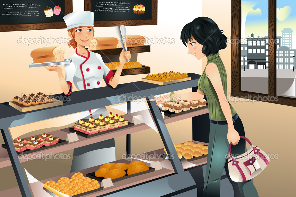 Buying Cake At Bakery Store   Stock Vector   Artisticco  8178851