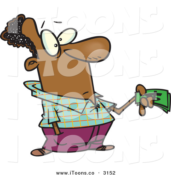 Clip Art Of A Poor Black Man Holding Money Out While Guiltily Buying
