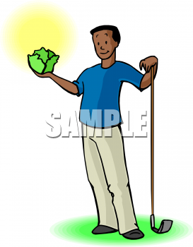 Clipart Picture Of An African American Man Holding A Head Of Lettuce