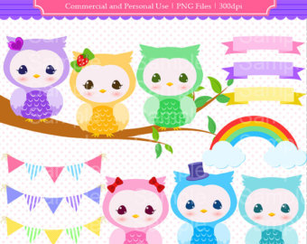 Colorful Owl Clipart Set Colorful Owl By Monchouclipartstore