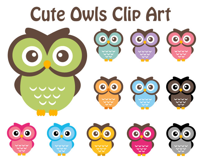 Cute Owl Clipart Owl Clip Art Elements By Dennisgraphicdesign