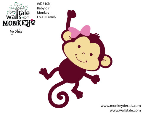 D310b Baby Girl Monkey Decal   Lo Lu Family