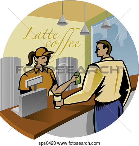 Drawing Of A Customer Buying Coffee At A Shop Sps0423   Search Clipart