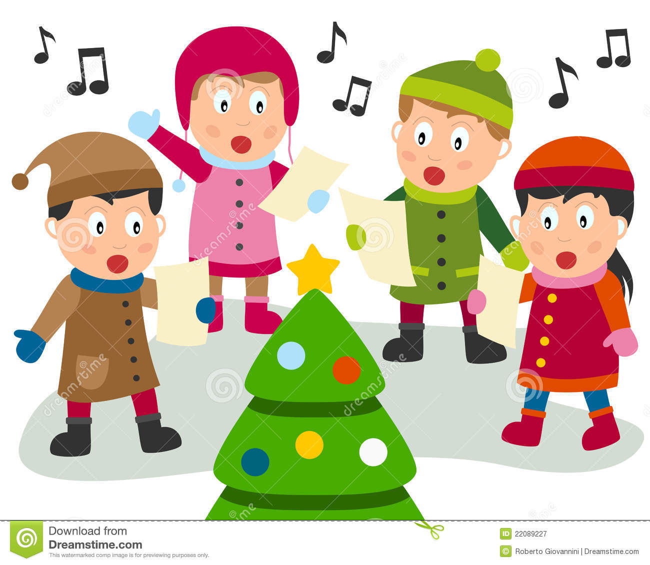 Four Cute Kids Singing Christmas Carols In Front Of A Christmas Tree