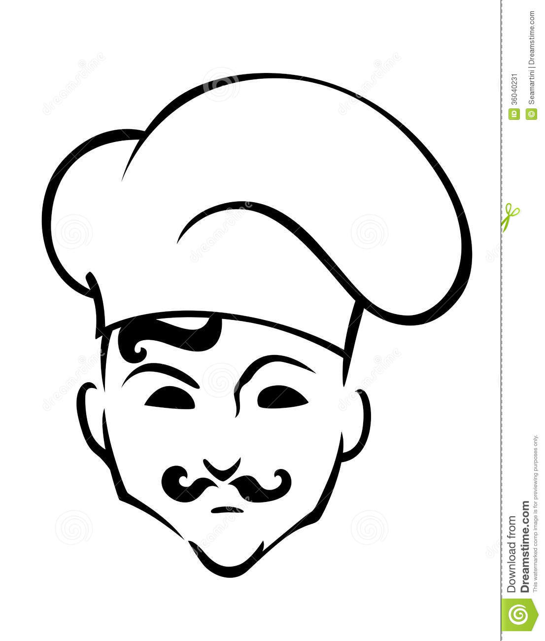 French Chef In Toque Hat In Cartoon Style For Restaurant Or Cafe