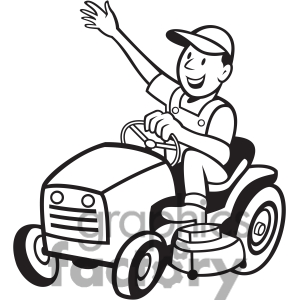 Grass Clipart Black And White 1414708 Black And White Farmer Riding