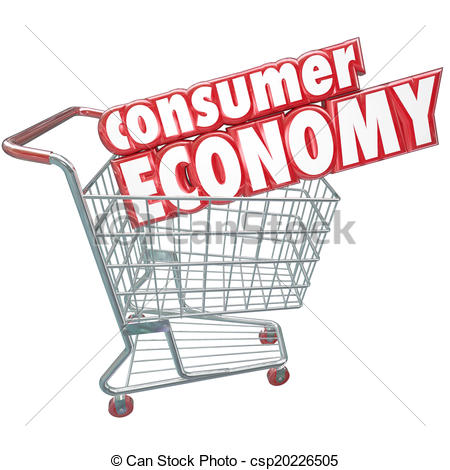 Illustration   Consumer Economy Shopping Cart Buying Goods Customer