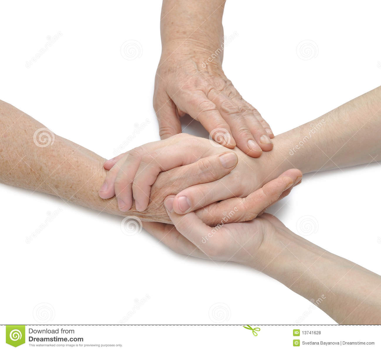 Old And Young Hands  Offering Comfort Royalty Free Stock Photos