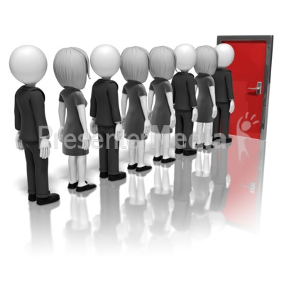 People Line Up For Door   Presentation Clipart   Great Clipart
