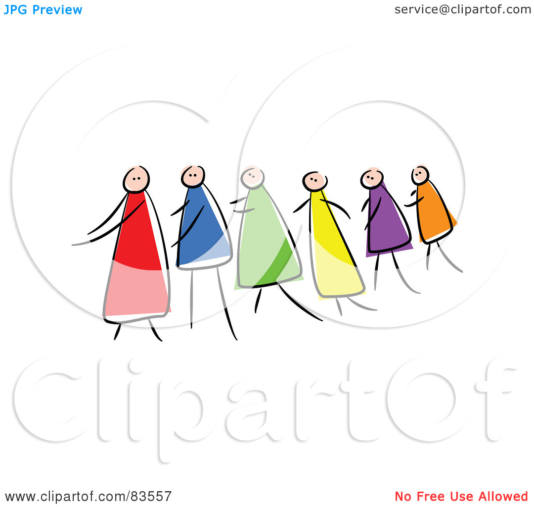 Royalty Free  Rf  Clipart Illustration Of A Line Of Stick People