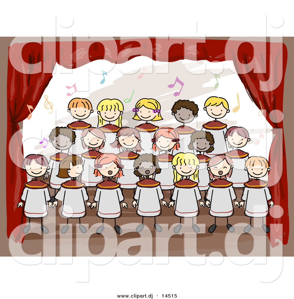Vector Clipart Of Cartoon Doodled Kids Singing At School Choir On