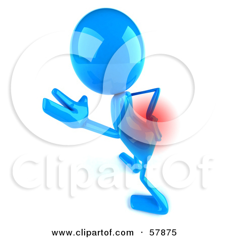 3d Blue Bob Character With Lower Back Pain   Version 3
