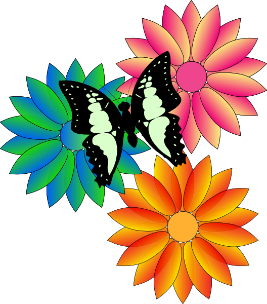 Butterfly And Flowers Clip Art At Clker Com   Vector Clip Art Online