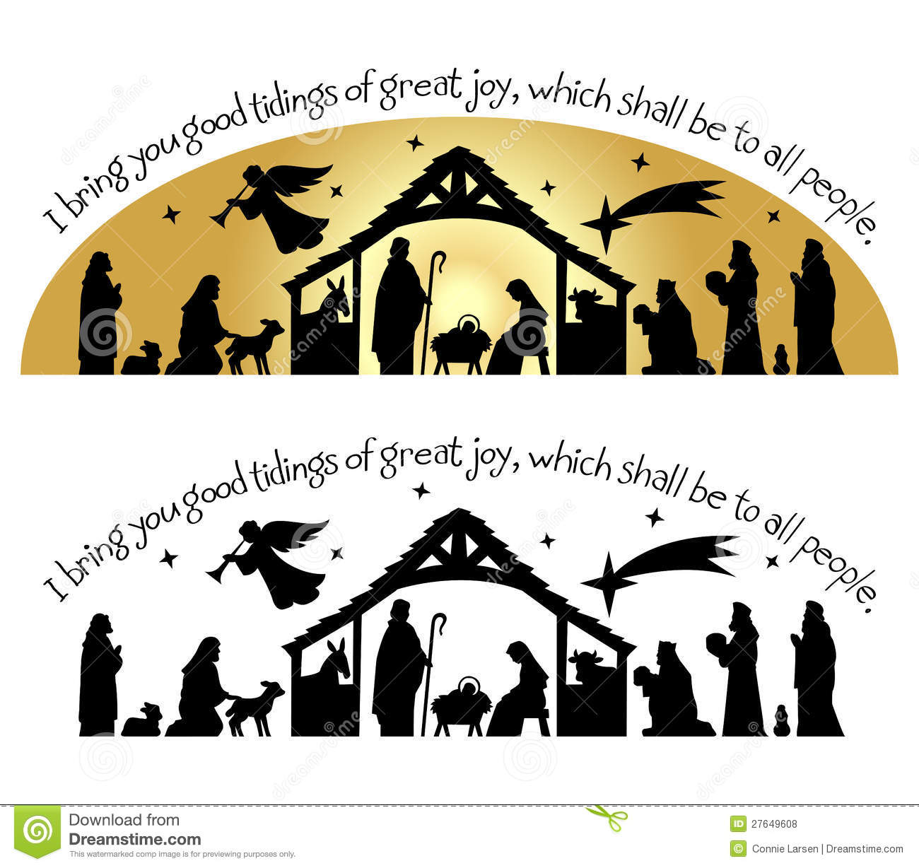 Calligraphy Christmas Bible Verse With Nativity Silhouette   I Bring