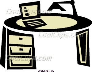 Cool Office Desks On Office Desk With Laptop Vector Clip Art