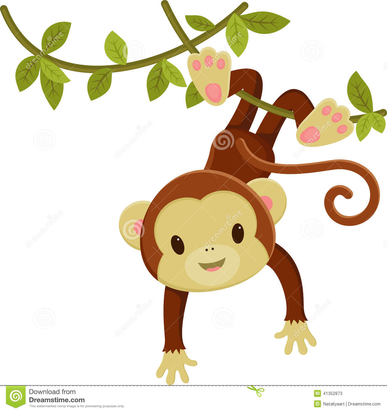 Cute Cartoon Monkey Hanging On A Liana  Vector Clip Art Illustration