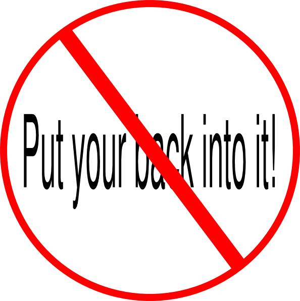 Dont Put Your Back Into It Clip Art At Clker Com   Vector Clip Art