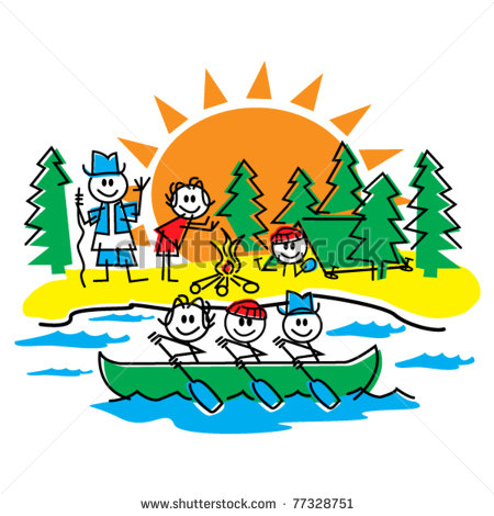 Hiking And Having Fun In A Canoe In The Summer    Stock Vector