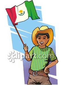Mexican Boy With Mexican Flag   Royalty Free Clipart Picture