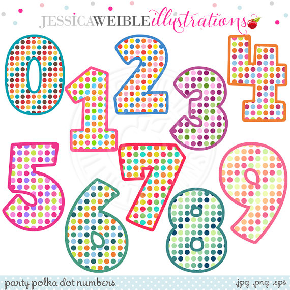 Party Polka Dot Numbers Cute Digital Clipart   Commercial Use Ok