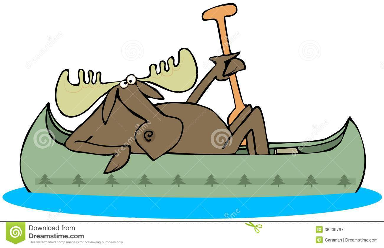 This Illustration Depicts A Moose In A Canoe Holding A Paddle